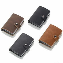 Load image into Gallery viewer, Leather RFID Aluminum Credit Card Holder (automatic Pop Up)- Small Card Case Wallet