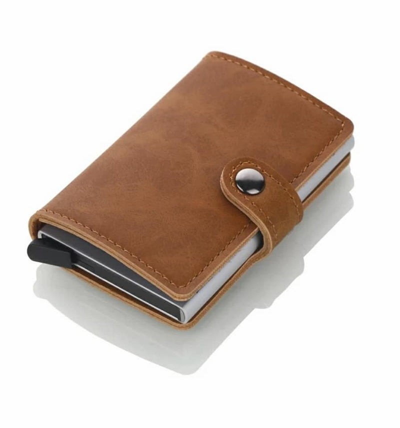 Leather RFID Aluminum Credit Card Holder (automatic Pop Up)- Small Card Case Wallet - TUZZUT Qatar Online Store