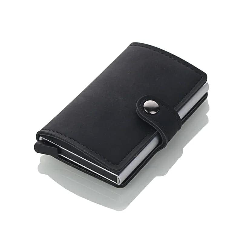 Leather RFID Aluminum Credit Card Holder (automatic Pop Up)- Small Card Case Wallet - Black - TUZZUT Qatar Online Store