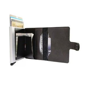 Leather RFID Aluminum Credit Card Holder (automatic Pop Up)- Small Card Case Wallet - Black
