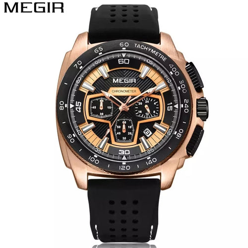 MEGIR 2056 Men's Casual Luxury Silicone Band Military Chronograph Sport Watch - TUZZUT Qatar Online Store