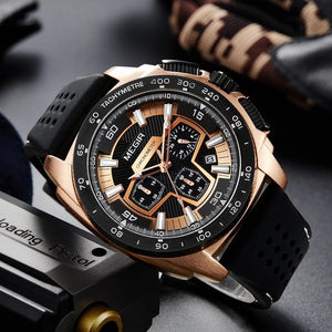 MEGIR 2056 Men's Casual Luxury Silicone Band Military Chronograph Sport Watch