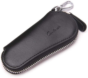 Mens Genuine Leather Car Key Holder Zipper Case Wallet Keychain Bag - BLACK - TUZZUT Qatar Online Store