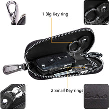 Load image into Gallery viewer, Mens Genuine Leather Car Key Holder Zipper Case Wallet Keychain Bag - BLACK