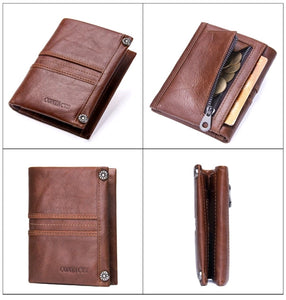 Top Quality Genuine Leather Zipper Pocket Card Holder Short Wallet For Men and Women - (M1245) - TUZZUT Qatar Online Store