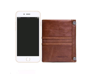 Top Quality Genuine Leather Zipper Pocket Card Holder Short Wallet For Men and Women - (M1245)