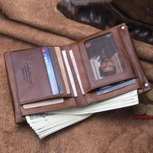 Load image into Gallery viewer, Top Quality Genuine Leather Zipper Pocket Card Holder Short Wallet For Men and Women - (M1245)