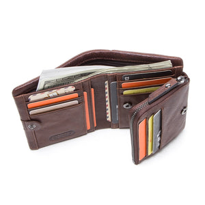 Mens Trifold Wallet Genuine Leather Credit Card Holder Purse with Zipper Pocket-M1002