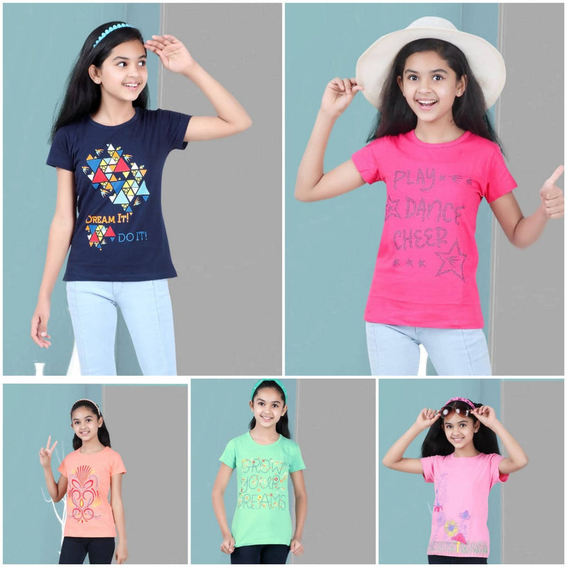 Cotton Knitted Girls T-Shirt Pack of 5 - TUZZUT Qatar Online Store