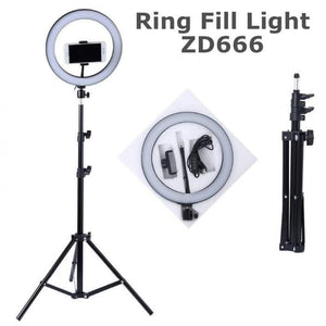 10-Inch Selfie Ring Fill Light Zd666 - 2600Lm 8W 120 Led With Tripod - TUZZUT Qatar Online Store