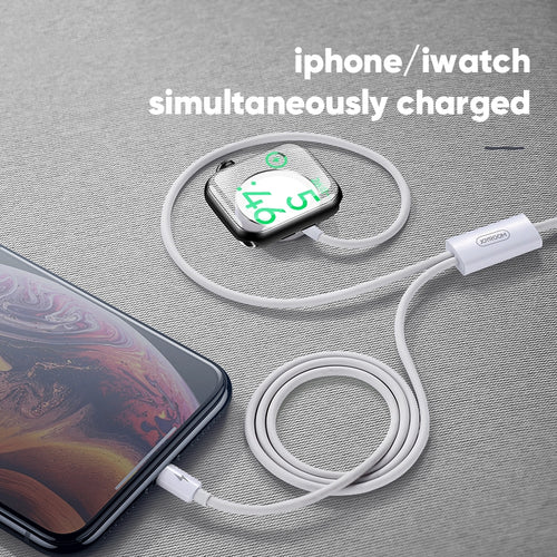 JOYROOM S-IW002S Ben Series 2 in 1 1.5m 3A Magnetic Charge Cable for Apple Watch and iPhone (White) - TUZZUT Qatar Online Store