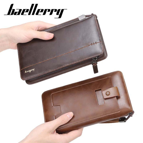 Baellerry Multi functional High Quality Business Style Man Long Cards Cell Phone Holder Leather Wallet - ZX-S6711 - TUZZUT Qatar Online Store