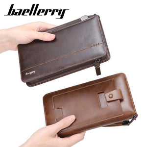 Baellerry Multi functional High Quality Business Style Man Long Cards Cell Phone Holder Leather Wallet - ZX-S6711