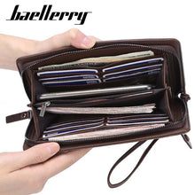 Load image into Gallery viewer, Baellerry Multi functional High Quality Business Style Man Long Cards Cell Phone Holder Leather Wallet - ZX-S6711