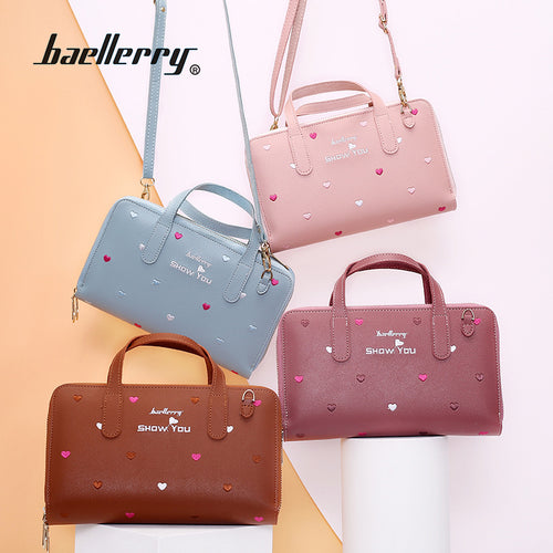 Baellerry Women New Design Korean Style PU Leather Flower Embroidery Handbag - ZX-N1902 - TUZZUT Qatar Online Store