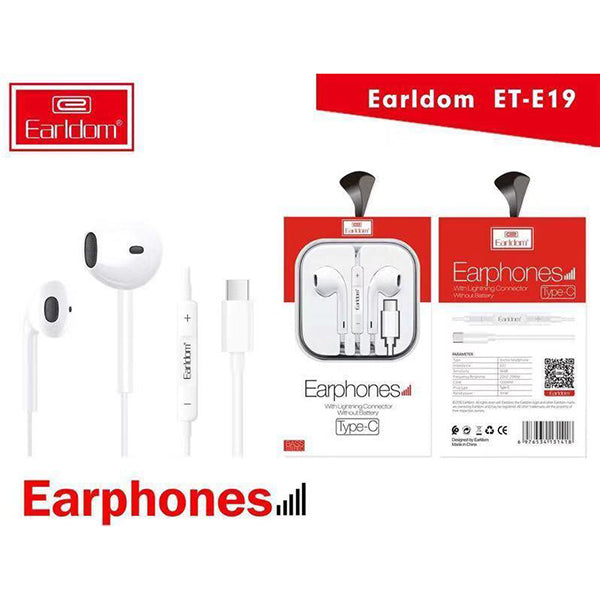 Earldom Stereo Type C Earphones with Mic Volume Control - ET-E19 - TUZZUT Qatar Online Store