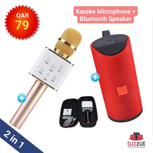 2 In 1 Bundle Best Quality Karoke Microphone with Carry box and  Bluetooth Wireless Speaker (Assorted Colours)