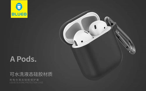BLUEO Liquid Silicone Protection Case For Airpods - Black - TUZZUT Qatar Online Store