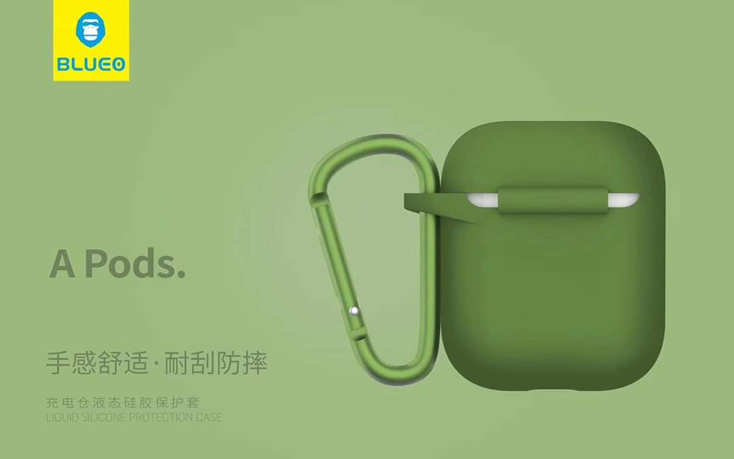 BLUEO Liquid Silicone Protection Case For Airpods - Green - TUZZUT Qatar Online Store