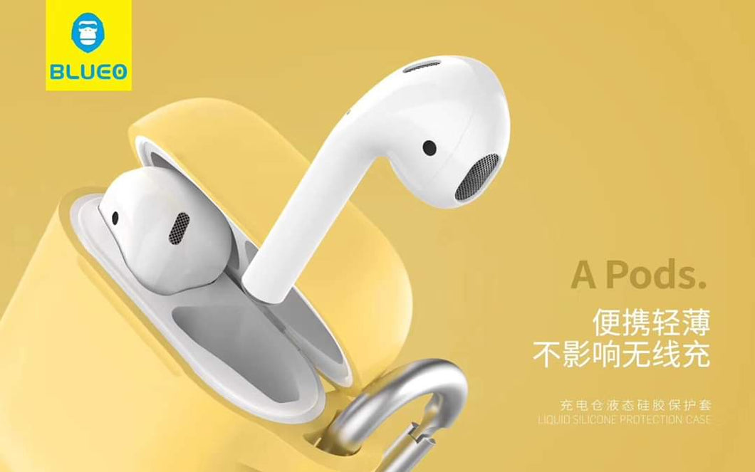BLUEO Liquid Silicone Protection Case For Airpods - Yellow - TUZZUT Qatar Online Store