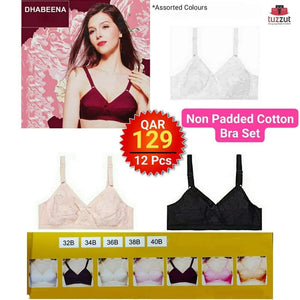12 Pcs Dhabeena Non Padded Super Support Cotton  Brassier Set (Assorted Colors) - TUZZUT Qatar Online Store