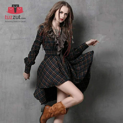 New Vintage Cotton Plaid Patchwork V-Neck Ruffles Asymmetrical Women Dresses - A6537 - TUZZUT Qatar Online Store