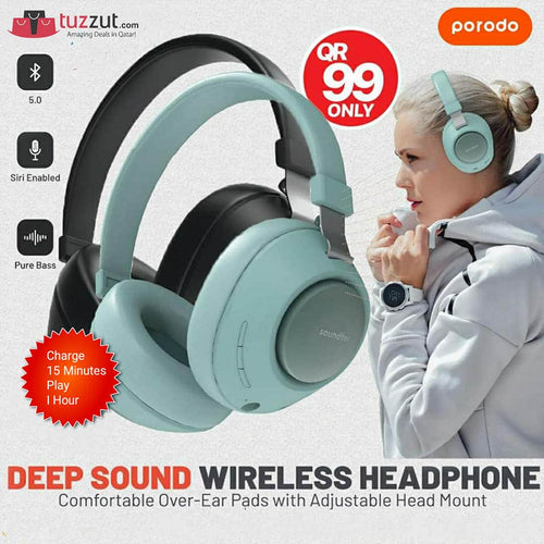 Porodo - Soundtec Deep Sound Wireless Over-Ear Headphone - TUZZUT Qatar Online Store