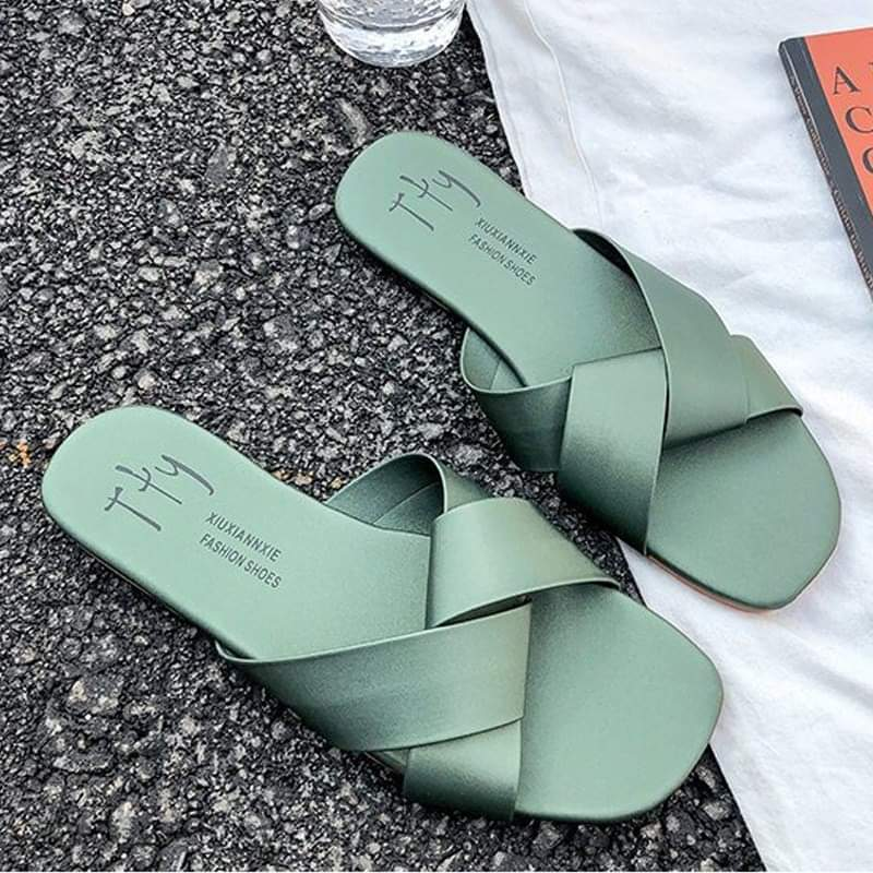Women's Korean-style Flat Top Cross-Tied Round Toe Slipper - TUZZUT Qatar Online Store