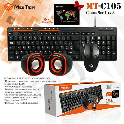 Meetion C105 - 3 in 1 Standard Keyboard, Mouse and Speaker Combo Set - TUZZUT Qatar Online Store