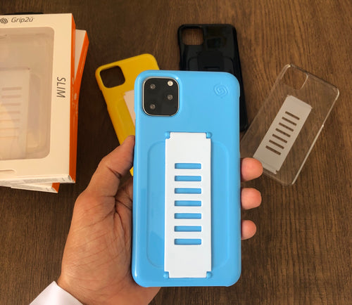 Grip2ü Slim Phone Grip Case Cover - Blue (iPhone 11 Pro/iPhone 11 Pro Max) - TUZZUT Qatar Online Store