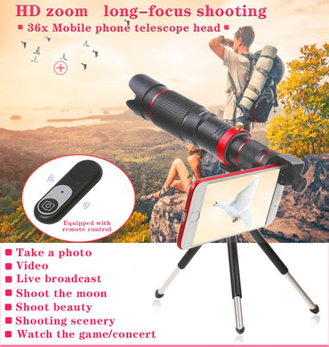 4K HD 36x Telephoto Zoom Lens,Wireless Remote Shutter,Clip-On Lense Compatible iPhone and Most Smartphones,for Hunting Camping Travelling