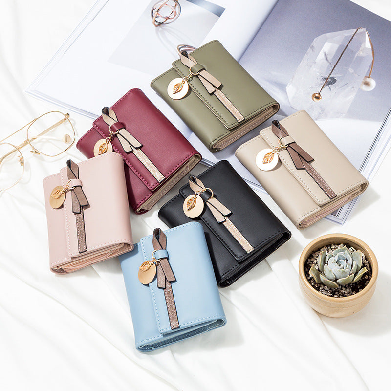 High Quality Short Women PU Leather Cute Bowknot Design Coin Zipper Wallet - OLF-1054 - TUZZUT Qatar Online Store