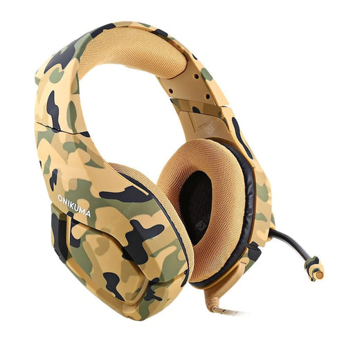 ONIKUMA K1 Camouflage Design Headset with Mic Over-Ear Stereo Music Gaming Headphones Earphone for PS4, New Xbox One, Laptop Tablet Gamer - Military Yellow - TUZZUT Qatar Online Store
