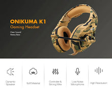Load image into Gallery viewer, ONIKUMA K1- B Camouflage Design Headset with Mic Over-Ear Stereo Music Gaming Headphones Earphone for PS4, New Xbox One, Laptop Tablet Gamer - Military Yellow - TUZZUT Qatar Online Store