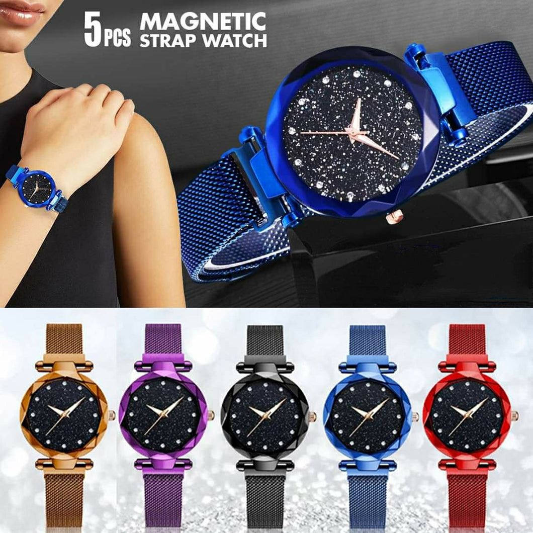 5 Pcs Magnetic Mesh Strap Watch Bundle - Assorted Colors - TUZZUT Qatar Online Store