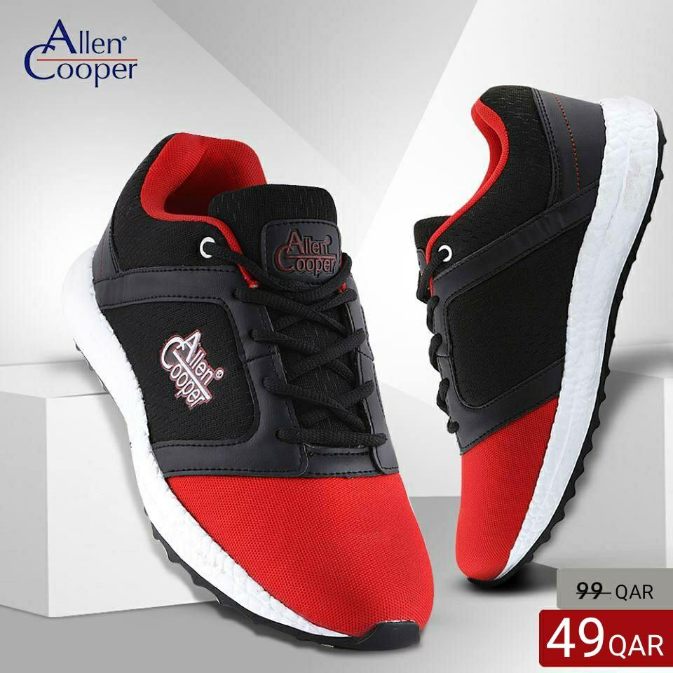 Allen Cooper Sports Shoes - Black & Red