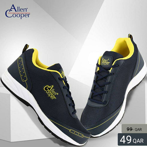 Allen Cooper Sports Shoes - Navy & Yellow