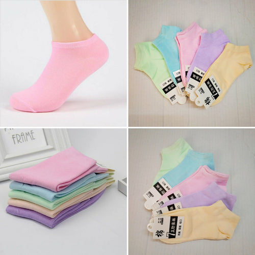 10 Pairs Womens Candy Color Cotton Short Ankle Socks - TUZZUT Qatar Online Store