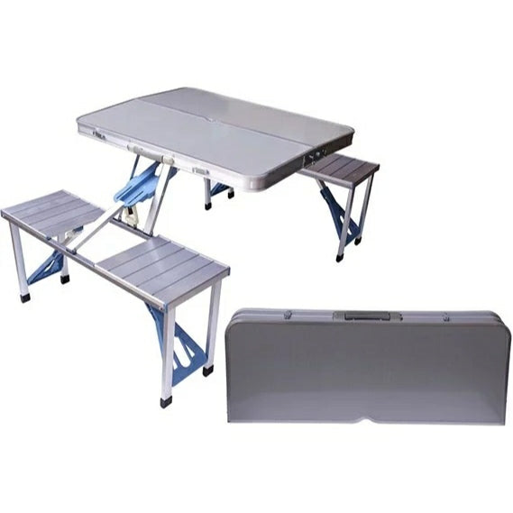 Outdoor Multifunctional Picnic Table, Aluminium With Foldable 4 Seats - TUZZUT Qatar Online Store