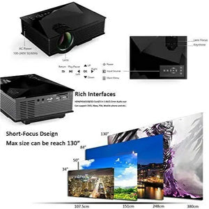 UC46 Entertainment HD LED Projector, 1200 Lumens, Wi-Fi Ready With HDMI, VGA, AV, USB, SD Card Slot - TUZZUT Qatar Online Store