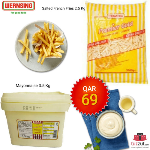 WERSING Combo - Super crisp Premier Gold Pommes Frites - French Fries - 2.5 kg +Premier Gold Mayonnaise 3.5 Kg  (Made In Germany) - TUZZUT Qatar Online Store