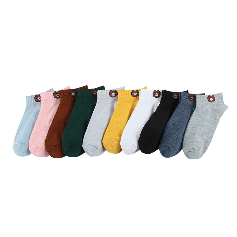 10 Pairs Women's Colourful Cotton Short Ankle Socks Bundle - TUZZUT Qatar Online Store