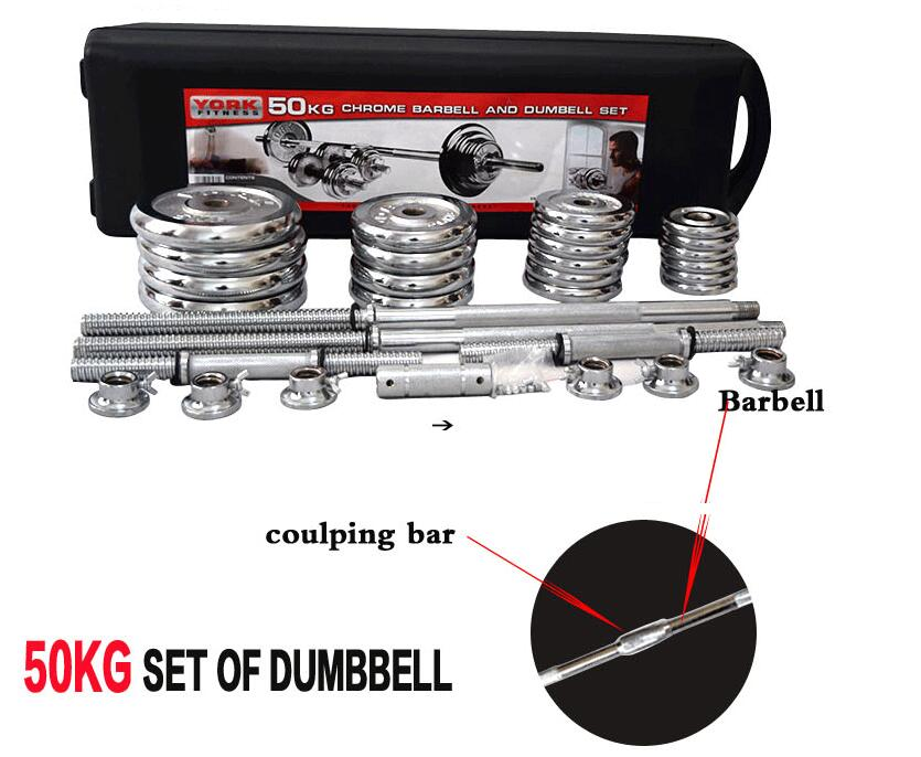 York 50kgs Chrome Barbell Set with Dumbbell Bars & Case - TUZZUT Qatar Online Store