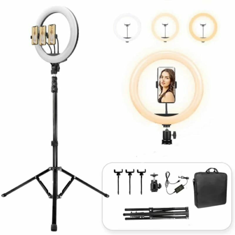18-Inch Selfie Ring Fill Light  - 3200K-5600K Led With 200cm Tripod and Carry Bag - TUZZUT Qatar Online Store