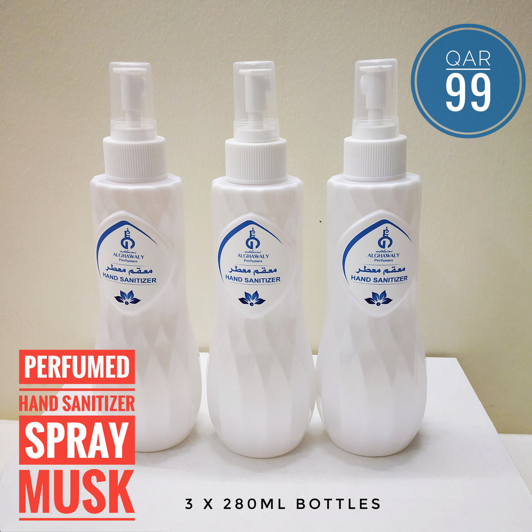 3 Pcs Perfumed Hand Sanitizer Spray Musk 280ml - TUZZUT Qatar Online Store