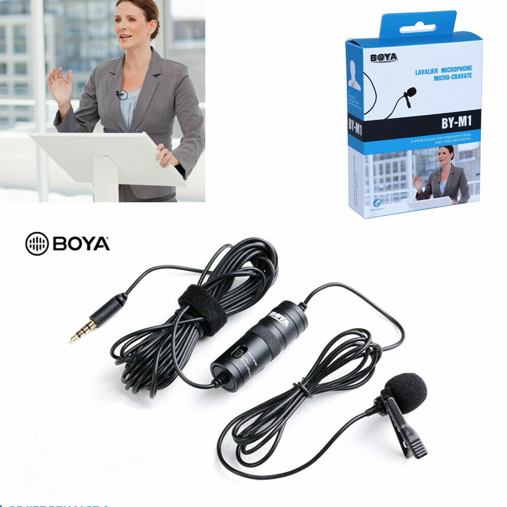 BOYA BY-M1 Omnidirectional Condenser Microphone 20 Feet Audio Cables Compatible with Digital SLR Camcorders Video Cameras/Smartphone Black - TUZZUT Qatar Online Store