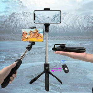 K06 Handheld Extendable Tripod Monopod Mobile Phone Selfie Stick with Rear Mirror Bluetooth Remote Shutter - TUZZUT Qatar Online Store