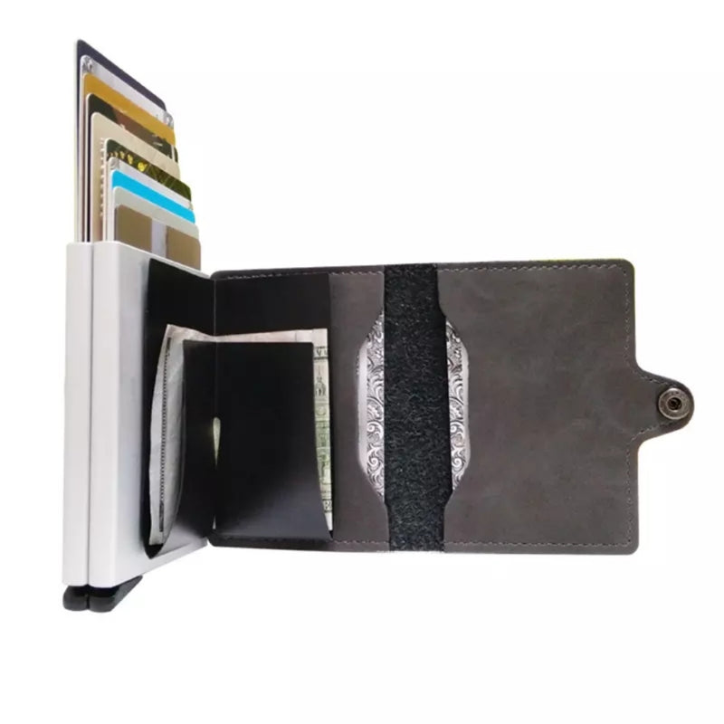 Double Aluminum RFID Leather Credit Card Holder (automatic Pop Up)- Small Card Case Wallet - TUZZUT Qatar Online Store