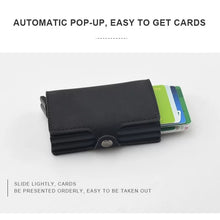 Load image into Gallery viewer, Double Aluminum RFID Leather Credit Card Holder (automatic Pop Up)- Small Card Case Wallet - TUZZUT Qatar Online Store