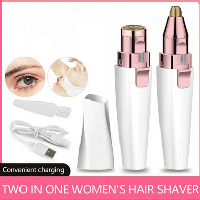 2 in 1 Women's Rechargeable Hair Remover  Eyebrow and Painless Lips Nose Body Facial Hair Remover Shaver - TUZZUT Qatar Online Store